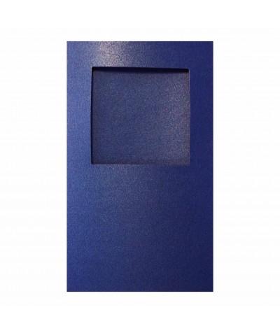 О32007 Открытка тройная квадрат синяя перламутровая