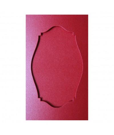 О36005 Открытка тройная Фигурная 2  красная перламутровая