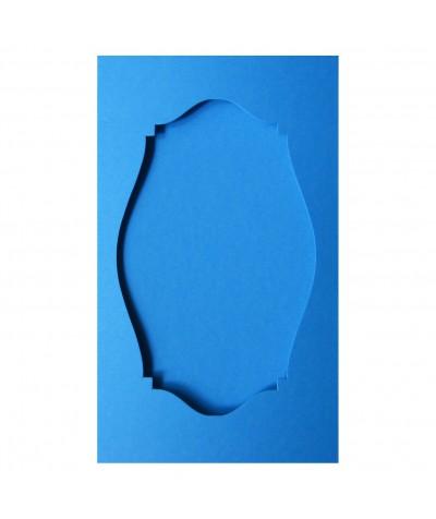 О36012 Открытка тройная Фигурная 2  ярко-голубая матовая