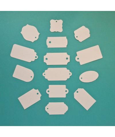 ВФ2025-1 Набор ярлычков-мини 14 шт., цвет Слоновая Кость, фактура