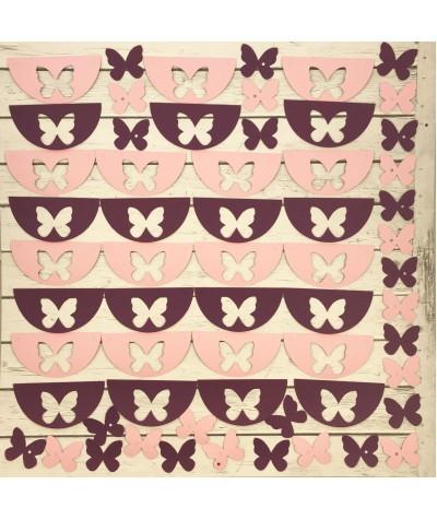 ГИР2002 Заготовка для гирлянды Полукруг Бабочка Розовый/Лиловый
