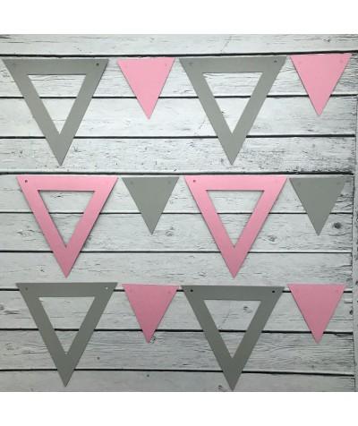 ГИР5004 Заготовка для гирлянды Треугольник 2 в 1 Розовый/Серый