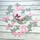 ГИР2004 Заготовка для гирлянды Полукруг Бабочка Розовый/Серый
