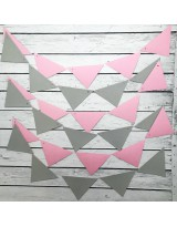 ГИР3004 Заготовка для гирлянды Треугольник Розовый/Серый
