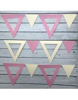 ГИР5003 Заготовка для гирлянды Треугольник 2 в 1 Розовый/Кремовый